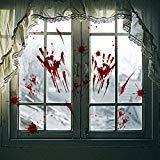 4Blatt Halloween blutigem Handabdruck Fußabdruck Fenster klammert Sich an Decals, Horror Badezimmer Decor Vampire Zombie Party Dekorationen Aufkleber