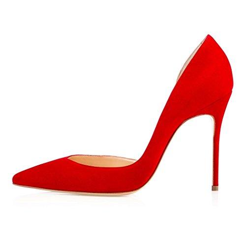 EDEFS Damen Stilettos High Heels Übergröße Damenschuhe Spitze Zehen Zwei Stücke Lackleder Pumps für Partei und Club Rot