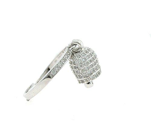 Anello in argento sterling 925 con charm motivo campana caprese zirconi bianchi,misura open regolabile da 14 a 16