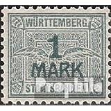 Württemberg 1 marcos con marca de agua Cruces y Anillos 1906 Staatsbahnen (sellos para los coleccionistas)