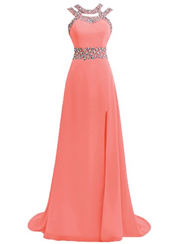 Damen Ballkleider Lang Abendkleider Festkleider Hochzeitskleid Chiffon A Linie Koralle EUR54
