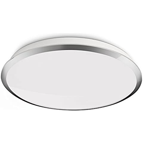 Philips myLiving Denim - Plafón LED, iluminación de interior, luz blanca cálida, 7,5 W, diámetro 35,3 cm, color gris