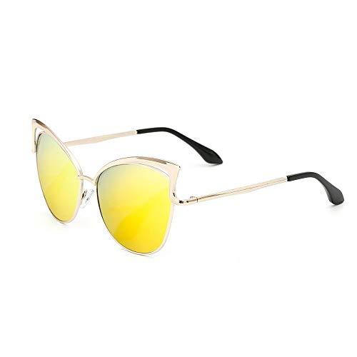 XHCP Frauen Klassische Sonnenbrille Graceful Lady 's Übergroße Katzenaugen Polarisierte Sonnenbrille Metallrahmen UV-Schutz Sonnenbrille Für Frauen Bunte Linse Fahren Sonnenbrille (Farbe: Gelb)