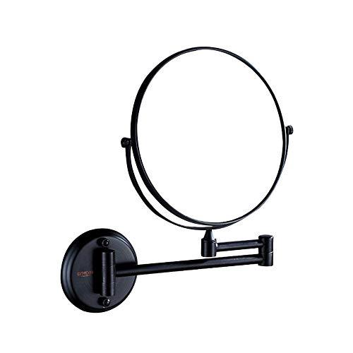 3X / 1X Wand-Schminkspiegel, leegoal Badezimmer-Vergrößerungsspiegel Doppelseitiger Vergrößerungs-Schminkspiegel 8-Zoll-Wandmontage Kosmetikspiegel, Schwenkbar, ausziehbar und verchromt, kein Licht - Schwarz-badezimmer-eitelkeit Spiegel