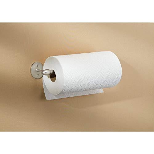 InterDesign Orbinni Küchenrollenhalter | Wandmontierter Papierrollenhalter  Für 1 Rolle | Dezenter Rollenhalter Für Küchenkrepp | Metall Mattsilber