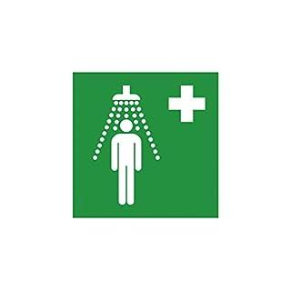 Rettungsschild als Symbol Notdusche nach ISO 7010, Beschreibung:150x150mm F