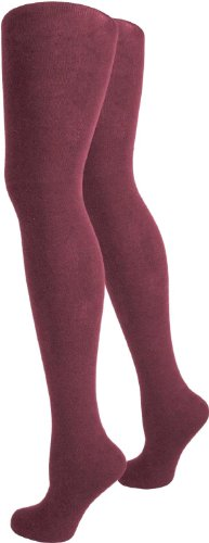 3 wärmende und blickdichte Strickstrumpfhosen für Damen - Winter oder Herbst Strumpfhosen Farbe Sangria Größe XXL (Strumpfhose Plus Size Elasthan)
