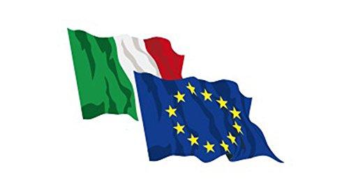 Nonsolobandiere set 2 bandiere italia - europa cm 100x150 in poliestere nautico