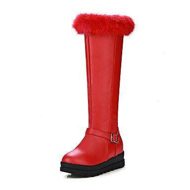 RTRY Scarpe Donna Similpelle Winter Snow Boots Fashion Stivali Stivali Platform Liane Round Toe Ginocchio Alti Stivali Fibbia Zipper Per Abbigliamento Casual US6.5-7 / EU37 / UK4.5-5 / CN37