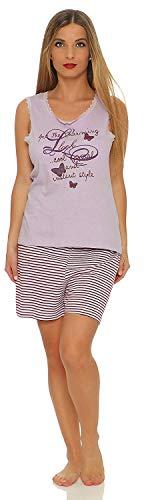 Damen Shorty Gr. S - 36/38 Top lila mit Motiv Druck und Spitze am Hals- und Armausschnitt kurze Hose kurzer schlafanzug damen kurzer Nachtwäsche gestreift geringelt damen 36-38 -