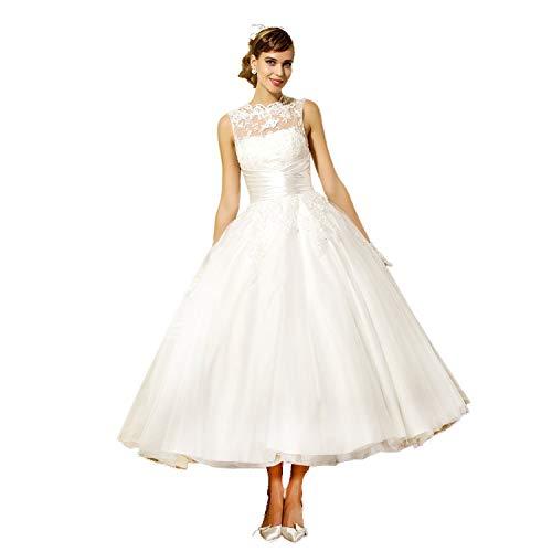 YASIOU Hochzeitskleid Damen A Linie Kurz Spitze Tüll Standesamt Vintage Brautkleider Knielang...