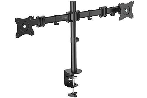 """DIGITUS Dual-Monitor Ständer / Klemmhalterung für 15\""""-27\"""" Monitore, schwenkbar, neigbar, rotierbar, schwarz"""
