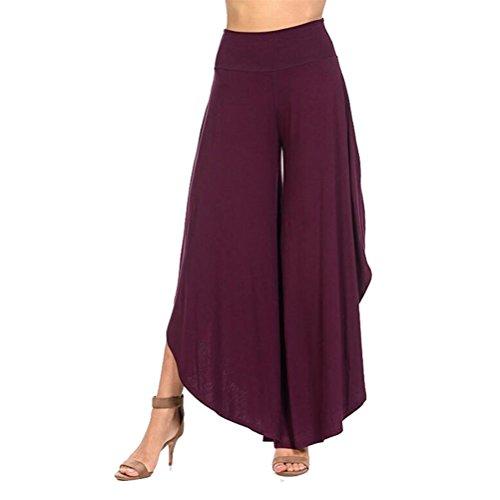 Damen Einfarbig Hosenrock Haremshose Aladinhose Yogahose Palazzo Hose Schlaghosen Weite Beinhosen Purple Flare-hose