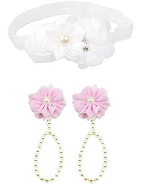 Gazechimp Baby Blume Stirnband Fotografie Requisiten Haarband + Baby Perle Fuß Kette