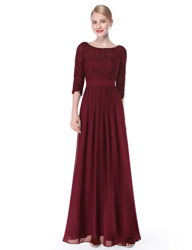 Ever Pretty Damen Elegant 3/4 Aermel Lace Lang Abend Kleider 08412 Bordeaux