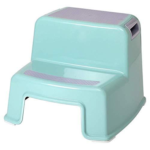 QTUB 2-Stufen-Hocker for Kinder ChildrensToddler-Hocker Mit rutschfestem, weichem Griff for mehr Sicherheit als Badtoilette Töpfchenhocker und Küchen-Tritthocker Dual Height Wide Two Step -