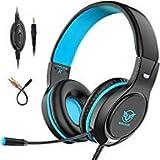 Pobon Gaming-Headset für Xbox One / PS4 / Nintendo Switch/Mac / PC/Smartphones / iPad, Geräuschunterdrückung, Bass-Surround-Sound, 3,5 mm Klinke, Over-Ear-Kopfhörer mit Mikrofon blau blau