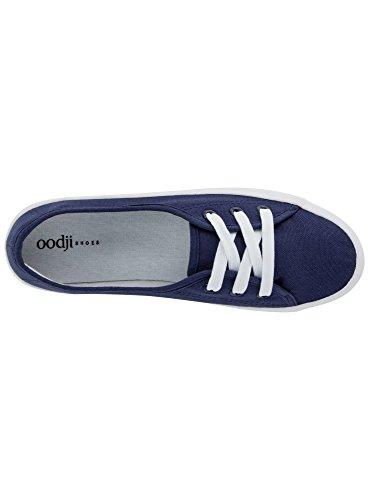 oodji Ultra Damen Basic Baumwoll-Freizeitschuhe Blau (7900N)