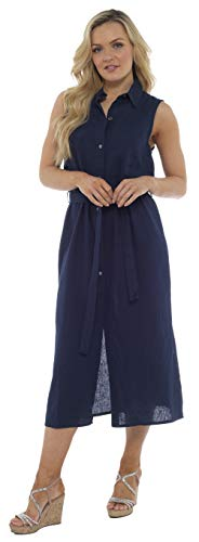 CityComfort Vestido Camison Largo Sin Mangas De Lino De Verano para Mujer Botón A Través De La Túnica con Cinturón A Juego | Tallas Disponibles Desde Pequeña hasta Grande (48, Azul Marino)