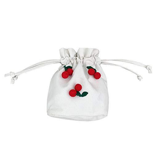 MA87 Damen Umhängetasche Damentaschen Crossbody Tasche Schultertasche Crossbody Kirsche Segeltuch Bucket Bag 24cm(L) x10cm(W) x24cm(H)/9.45''X3.94''X9.45'' (Weiß) -