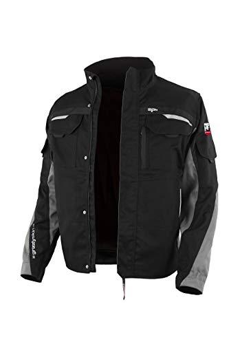 Grizzlyskin Arbeitsjacke Iron - Unisex Workwear für Damen & Herren, Cordura-Schutzjacke mit vielen Taschen, Outdoor Jacke mit Reflexbiesen, Farbe: Schwarz/GrauGröße: M (46/48)