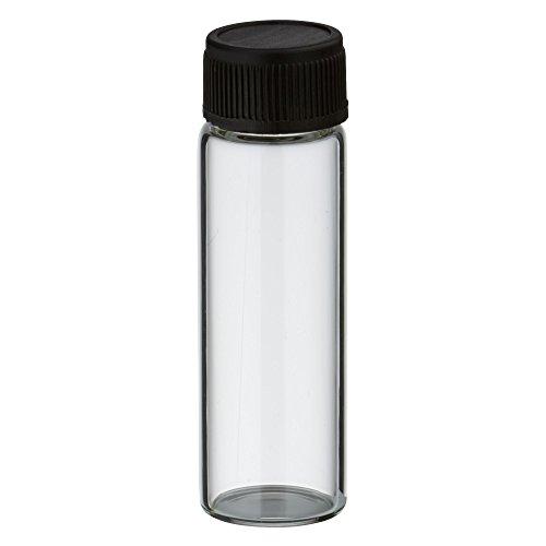 20x Mini Flasche 5ml aus klarem Glas mit schwarzem Schraubverschluss und Dichteinlage -
