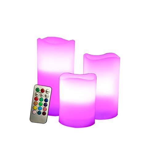 Ayrio - Vela LED sin llama con mando a distancia y temporizador para decoración interior o exterior (3 unidades, 3 unidades, con vela LED de colores y llamas de colores brillantes