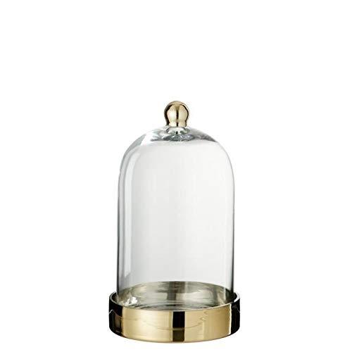 Cloche verre déco 18x18x30 cm Or et Transparent