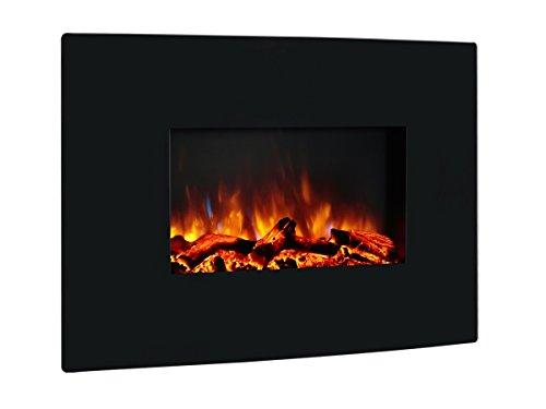 Richen Elektrokamin EF159L Wandkamin Elektrischer Kamin (2000W, LED-Beleuchtung, 3-D Flammeneffekt, Fernbedienung) schwarz
