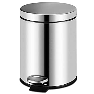 ALLWIN-HOUSEWARE W 5L Fingerprint Proof Round Step Bathroom Trash Can, Brushed Stainless Steel 1.3-Gallon