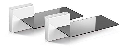 Meliconi ghost cube soundbar bianco, sistema copricavi componibile con mensola in vetro ideale per soundbar