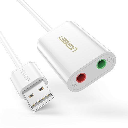 UGREEN Externe USB Soundkarte für Computer, PS4 usw. (Weiß)