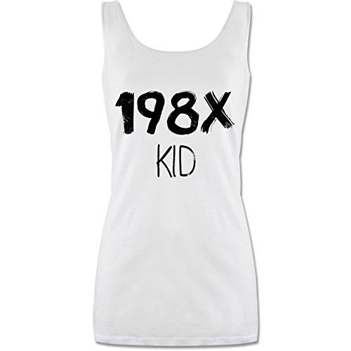 Geburtstag - 198X Kid Vintage - lang-geschnittenes Tanktop für Damen Weiß