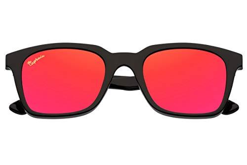Capraia Vespolina Wide Rectangular Vintage Sunglasses Ultra Light High Quality TR90 Black Frame and Red Mirrored Polarised Lenses UV400 protected Mens Womens