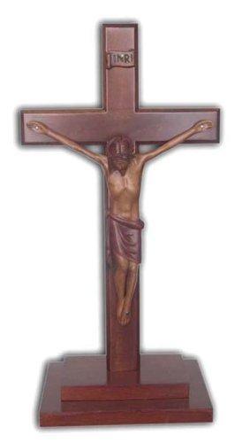 Christliche große Holz Holzkorpus stehende Kreuz 30cm trat base Kruzifix