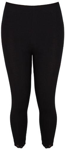 femmes imprimé motif dentelle femmes Garniture de bord ceinture élastique extensible 3/4 pantalons courts leggings grande taille Noir