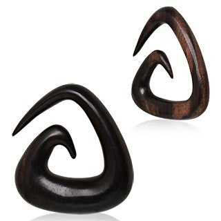 10mm Triangle Shaped Organic Sono Wood Taper Ear Stretcher Earring