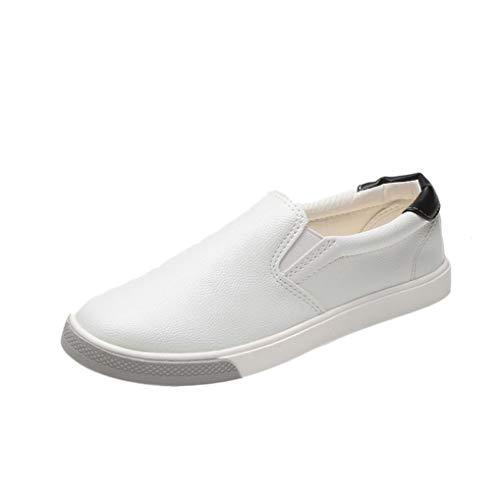 Femmes Dames Chaussures de Sport Bout Rond Plate-Forme Talon Plat Glissement sur Respirant Baskets Plates - Chaussures Blanches BaZhaHei
