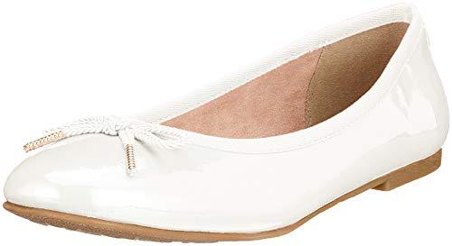 Tamaris Damen 22123-21 Geschlossene Ballerinas, Weiß (White Patent 123), 39 EU