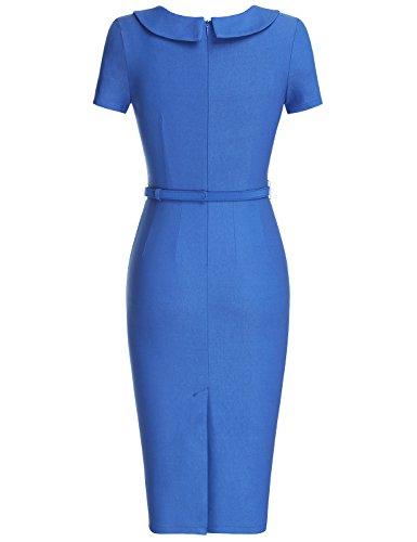 MUXXN Damen Etuikleid mit Gürtel Rundhals Kurzarm Schleife Abend Bleistift kleid Business Kleid Bright Blue