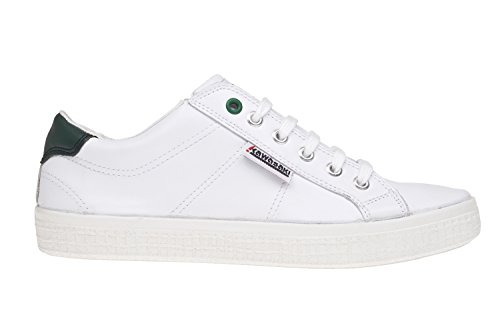 Kawasaki Unisex-Erwachsene Badmin Leather Sneaker WHITE/ GREEN HE