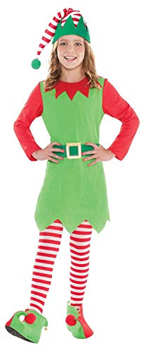 Cute Elf 4 Piece Fancy Dress Costume Outfit Christmas Festive Santas Helper Nativity 8-14 Years (12-14 Years) ()