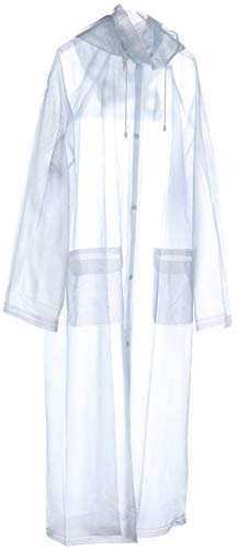 Com-four Wiederverwendbarer Regenmantel mit Abnehmbarer Kapuze - Regenschutz zu jeder Gelegenheit, Transparent, Gr.- XL Pvc-poncho