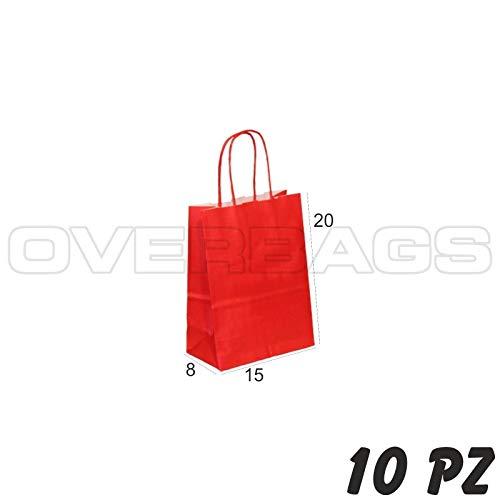 OverBags - 10 PZ Borsa Shopper Sacchetto in Carta Rosso 15X8X20 Manici RITORTI