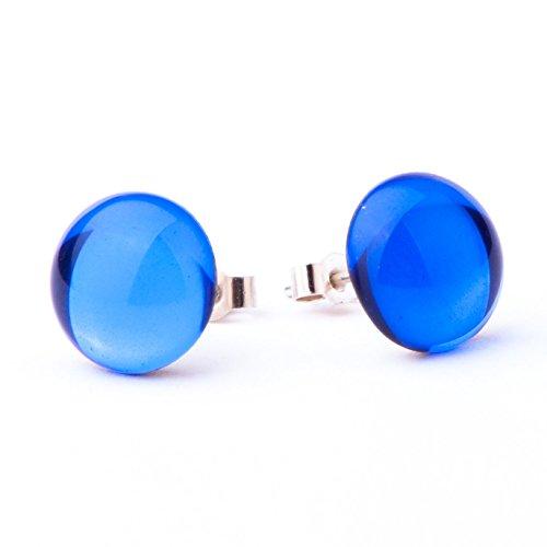Stile Vintage, in vetro a specchio e cristallo blu cobalto-Orecchini