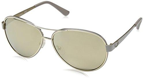 Guess Unisex-Erwachsene GU7443 57C 60 Sonnenbrille, Beige Luc/Fumo Specchiato