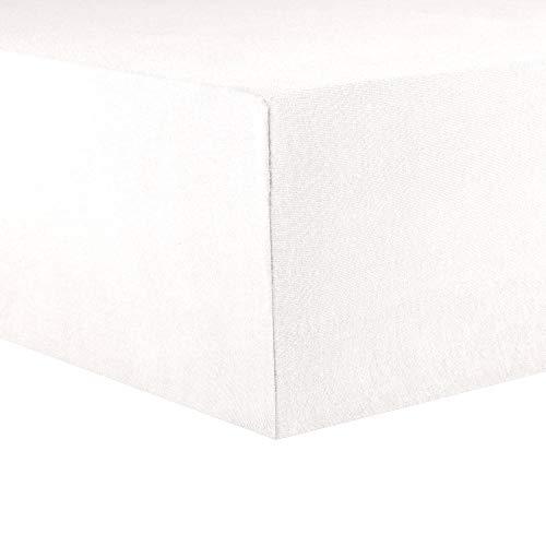 CelinaTex Lucina Topper Spannbettlaken 200x200 - 200x220 schnee weiß Jersey Baumwolle Spannbetttuch Boxspringbett Topper 0004602
