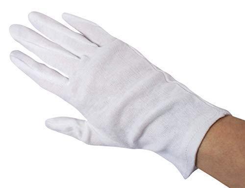 12 Paar Baumwollhandschuhe Trikothandschuhe weiß gebleicht (XXX-Large)