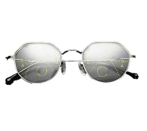TENGGO Geometrisches Progressive Multifokale Presbyopia Reading Glasses Full Frame Resin Lens Glas-1.5