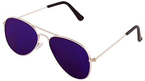 ADDON EYEWEAR Mirrored Non Polarized Aviator Men's, Women's, Boy's, Girl's Sunglasses - (Silver Blue Black Flat-3025|50|Blue)